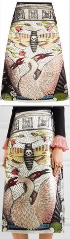 Printed Duchesse Midi Skirt