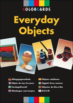 $48.75 Everyday Objects - ColorCards: Offers a wealth of teaching possibilities to introduce, develop or reinforce basic language concepts. Includes domestic objects arranged in six color-coded categories (food, toys, household objects, personal effects, clothes and furnishing/electrical items) with eight objects in each category.