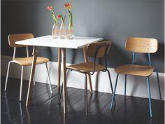 HESTER WHITES Wood White stackable dining chair - HabitatUK
