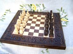 Wooden chess backgammon board Wood checkers Wood by HappyFlying