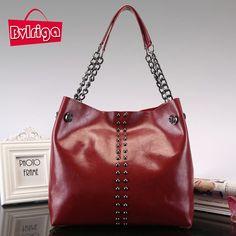 BVLRIGA bolsa de lujo de las mujeres bolsos de cuero Genuino diseñador  cadena remache bolsos de 9686ef9924355
