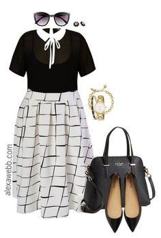 Plus Size Midi Skirt Outfit - Plus Size Work Wear - Plus Size Fashion - alexawebb.com #alexawebb                                                                                                                                                     More
