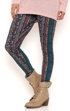 Deb Shops Floral Tribal Stripe Leggings $9.60