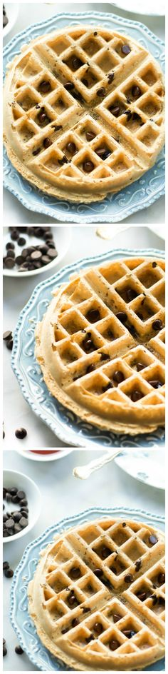 Almond Butter Waffles are made with almond butter and dark chocolate chips for a delicious and healthy weekend breakfast!