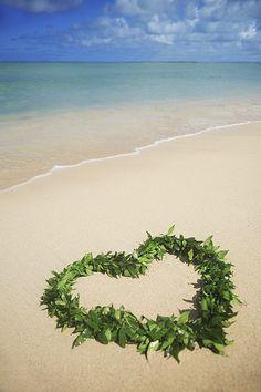 Heart shaped Lei on the beach