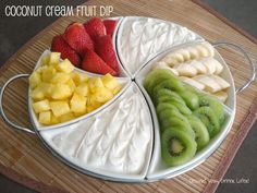 Coconut Cream Fruit Dip ~ I made my own whipped cream using 8 oz. heavy whipping cream & cup of powdered sugar. I also used coconut cream from trader joes. (I'm pretty sure the coconut cream tasted weird. Dip Recipes, Fruit Recipes, Appetizer Recipes, Snack Recipes, Cooking Recipes, Fruit Dips, Fruit Platters, Cooking Tips, Healthy Snack Foods
