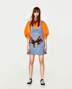 ZARA - WOMAN - DENIM PINAFORE DRESS WITH PANTHER DESIGN