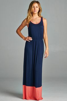 Jersey colorblock maxi dress in navy and coral