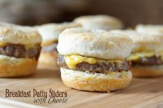 Biscuit dough, sausage and cheese layered in muffins tins then baked for a quick and delicious morning treat. Breakfast Patty Sliders with Cheese. #AllstarsJohnsonville #ad