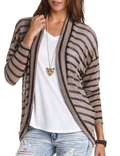 Striped Hacci Cocoon Cardigan: Charlotte Russe