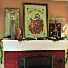 Vintage Christmas Mantel