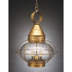 Northeast Lantern Onion 2 Light Outdoor Hanging Lantern Finish: Raw Brass, Shade Type: Frosted, Bulb Type: LT2