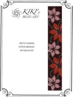 Peyote Pattern for bracelet - Pretty flowers peyote bracelet cuff PDF pattern