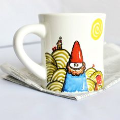 Garden gnome coffee mug coffee cup tea cup diner mug hand painted green  red left handed personalizedceramic mug unique coffee mug (17.00 USD) by KnotworkShop