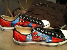 e5ba6558d4ad Items similar to Custom hand-painted canvas shoes on Etsy · Spiderman  ConverseSpiderman ...