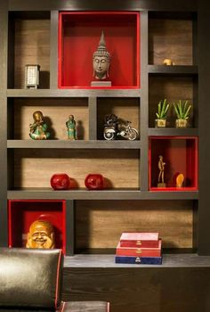 The wall decoration- how to store and decorate with it The wall niche is fashionable. With it you have several variants to decorate, store and create special places on your walls. It can be used as a decor. Living Room Partition Design, Pooja Room Door Design, Room Partition Designs, Built In Furniture, Home Decor Furniture, Home Decor Bedroom, Niche Design, Wall Design, House Design
