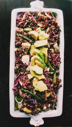 Black rice salad with spring vegetables & avocado | heartbeet kitchen (No chicken, sub agave for honey)