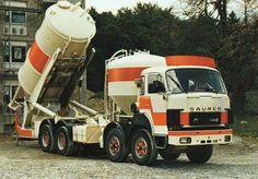 "SAURER cement silo""s transporter Concrete Cement, Heavy Duty Trucks, Vintage Trucks, Rigs, Baby Strollers, Transportation, Construction, Track, Europe"