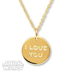 Star Wars Necklace I Love You/I Know 10K Yellow Gold