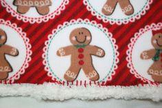 Gingerbread Icing 18x18 Crochet Edge Fleece Baby by MonaSewingTreasures