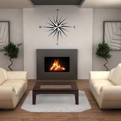 Create an accent wall above a fireplace with #compasswalldecals