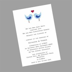 These cute postcard size love birds wedding invitations can be printed in many different colours. www.kardella.com