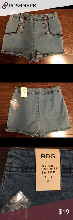 Urban Outfitters High waisted Sailor Shorts NEVER WORN. Tags attached. Super stretchy. Urban Outfitters Shorts Jean Shorts