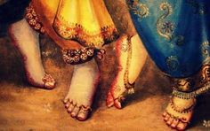 """"""" The lotus feet of the topmost dancers…Radhe Shyam! My goal, my inspiration, my very heart and soul """" The Ultimate Gift that a devotee wants….The Lotus Feet Of Radha-Krishna Radha Krishna Images, Radha Krishna Love, Krishna Photos, Lord Krishna, Jai Shree Krishna, Radhe Krishna, Sita Ram, Gautama Buddha, Krishna Painting"""