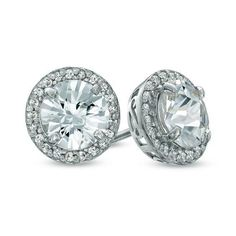 Zales 5.5mm Lab-Created White Sapphire Frame Stud Earrings in Sterling Silver chmeMXPsX