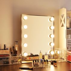 Tabletop Vanity Mirror, Lighted Vanity Mirror, Makeup Vanity Mirror, Mirror With Lights, Vanity Lighting, Mirrors, Wall Mirror, Hollywood Makeup Mirror, Rolling Makeup Case
