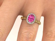 Engagement Diamond Ring, Sapphire Engagement Ring, Oval Diamond Yellow Gold Wedding Rings, Pink Sapphire Engagement Ring, Diamond Halo Ring by BridalRings on Etsy https://www.etsy.com/listing/481488489/engagement-diamond-ring-sapphire
