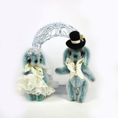 Artist miniature bunnies  Wedding gift  Gift for by KaterinaMenthe