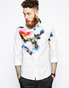 Image 1 ofPS Paul Smith Shirt with Digital Floral Print
