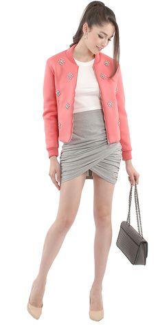 Warhol Neoprene Jacket | Crossroads Ruched Miniskirt | Agence Classic Pumps