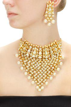Gold plated crystal jaal choker set by Amrapali. Shop now: www.perniaspopups.... #jewellery #designer #amrapali #pretty #gorgeous #shopnow #perniaspopupshop #happyshopping