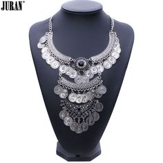 2017 fashion maxi necklace Unique collar metal chain chunky choker coin pendant  statement coin necklace