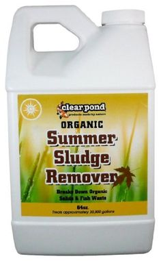 Clear Pond Summer Bio Sludge Remover - 64-Ounce by Clear Pond. $27.50. Helps keep ponds clean, clear and healthy. Treats 20,000 gallons. Controls odors by eliminating the build-up of dead and decaying organic wastes. Clear Pond Quick Fix uses the power of oxygen to safely, quickly and efficiently clear up your pond in minutes. Cleans unwanted debris from rocks and waterfalls. It is non-hazardous and safe to use. It reacts with natural enzymes in the pond to oxi...