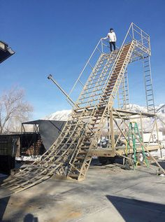 "Former local resident Colton Satterfield, Gold medal winner at the X Games in the BMX big jump competition last June, stands atop a large ramp he is having built for a ""Ramp Riot"" event at Holt Arena this April in #Pocatello. #xgames #bmx"