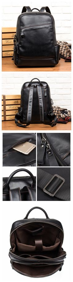 Real Leather Backpack, Leather School Backpack, Rucksack MS045 Cute Purses, Purses And Bags, Fashion Handbags, Fashion Bags, Leather School Backpack, Best Bags, Rucksack Backpack, Leather Projects, School Backpacks