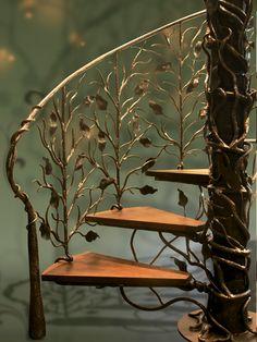 Leaves iron railing by Artesano Iron Works