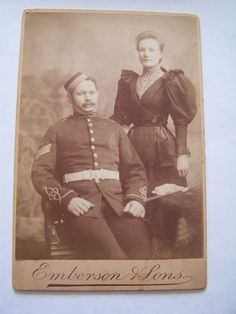Cabinet Card Royal Artillery Battery Sergeant & Wife Photo by Emberson & Sons