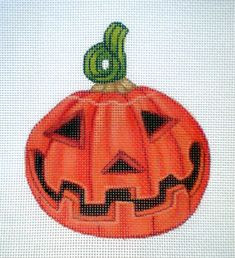 Handpainted Needlepoint Canvas Smiling Pumpkin