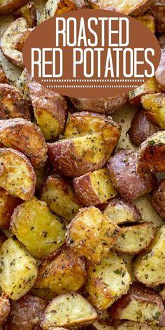 Roasted Red Potatoes Potato Recipes Crockpot, Healthy Potato Recipes, Roasted Potato Recipes, Easy Baking Recipes, Side Dish Recipes, Vegetarian Recipes, Cooking Recipes, Roasted Potato Seasoning Recipe, Healthy Potatoes