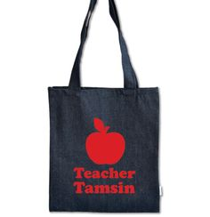 Persoanlised teacher Tote bags - personalise them online at www.macaroon.co.za