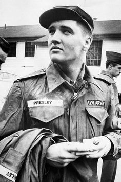 Candid photograph of Elvis while stationed in Germany.