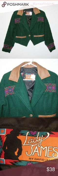 """Vintage western crop jacket S....up Perfect condition vintage! Bust 44"""" Long 20"""" Sleeve 23"""" David James Jackets & Coats"""