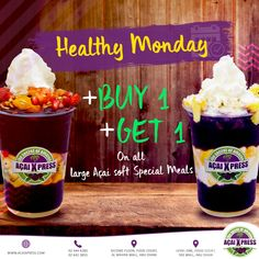 Now it's your time to get healthy! 💪  Go to an AçaiXpress Store, buy one delightful large Açai Soft Special Meals and won another for free. 😋  You can't miss that! 😍    #acai #acailovers #acaiabudhabi #acaiuae #healthyfood