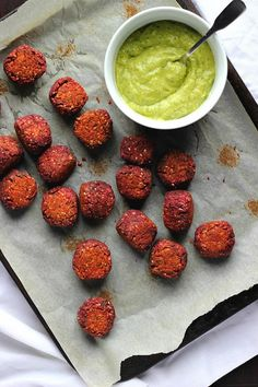 Nutty Baked Beetroot Falafels with Avocado Dill Cream