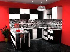 Interiordesign Black Red White Kitchen Modern Greenwichsquare Greenwich