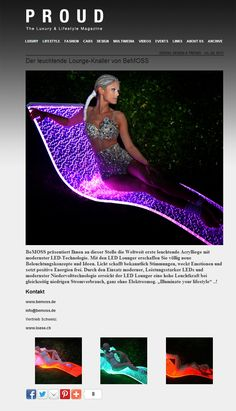 Proud Magazine Switzerland features Lumiluxe LED Lounge Chair